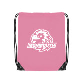 Nylon Light Pink Drawstring Backpack-Official Logo