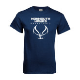 Navy T Shirt-Stacked Basketball Design