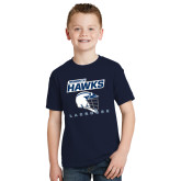 Youth Navy T Shirt-Lacrosse Helmet Design