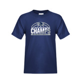 Youth Navy T Shirt-2017 MAAC Regular Season Basketball Champs Half Ball