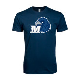 Next Level SoftStyle Navy T Shirt-Hawk with M