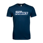 Next Level SoftStyle Navy T Shirt-Monmouth Hawks