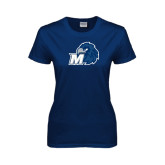 Ladies Navy T Shirt-Hawk with M
