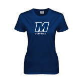 Ladies Navy T Shirt-Football