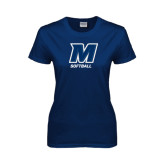 Ladies Navy T Shirt-Softball