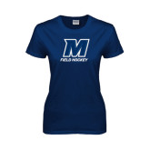 Ladies Navy T Shirt-Field Hockey