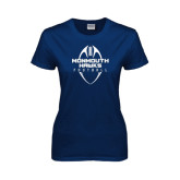 Ladies Navy T Shirt-Tall Football Design