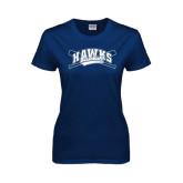 Ladies Navy T Shirt-Cross Bats Design