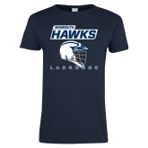 Ladies Navy T Shirt-Lacrosse Helmet Design