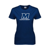 Ladies Navy T Shirt-Club Ice Hockey