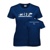 Ladies Navy T Shirt-Monmouth Bench 3 Celebrations