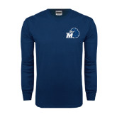 Navy Long Sleeve T Shirt-Hawk with M