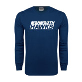 Navy Long Sleeve T Shirt-Monmouth Hawks Stacked