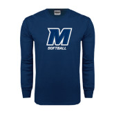 Navy Long Sleeve T Shirt-Softball
