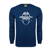 Navy Long Sleeve T Shirt-Tall Football Design