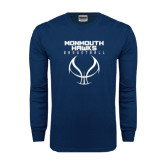 Navy Long Sleeve T Shirt-Stacked Basketball Design