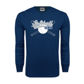 Navy Long Sleeve T Shirt-Cross Bats Softball Design