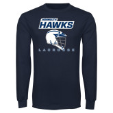 Navy Long Sleeve T Shirt-Lacrosse Helmet Design
