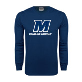 Navy Long Sleeve T Shirt-Club Ice Hockey