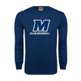 Navy Long Sleeve T Shirt-Club Baseball