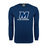 Navy Long Sleeve T Shirt-Club Lacrosse