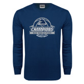 Navy Long Sleeve T Shirt-2017 MAAC Regular Season Basketball Champions Banner