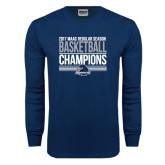 Navy Long Sleeve T Shirt-2017 MAAC Regular Season Basketball Champions Stacked
