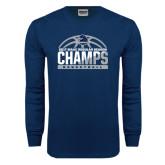 Navy Long Sleeve T Shirt-2017 MAAC Regular Season Basketball Champs Half Ball