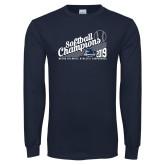 Navy Long Sleeve T Shirt-2019 MAAC Softball Champions
