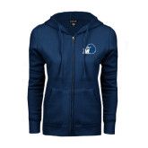 ENZA Ladies Navy Fleece Full Zip Hoodie-Hawk with M