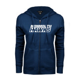 ENZA Ladies Navy Fleece Full Zip Hoodie-Monmouth Hawks Stacked