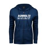 ENZA Ladies Navy Fleece Full Zip Hoodie-Monmouth Hawks Stacked