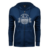 ENZA Ladies Navy Fleece Full Zip Hoodie-2017 MAAC Regular Season Basketball Champions Banner