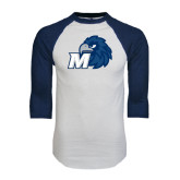 White/Navy Raglan Baseball T-Shirt-Hawk with M
