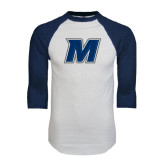 White/Navy Raglan Baseball T-Shirt-M