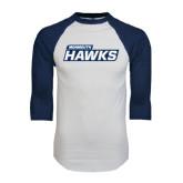 White/Navy Raglan Baseball T-Shirt-Monmouth Hawks