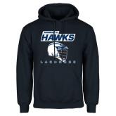 Navy Fleece Hoodie-Lacrosse Helmet Design