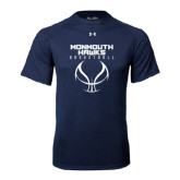 Under Armour Navy Tech Tee-Stacked Basketball Design