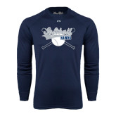 Under Armour Navy Long Sleeve Tech Tee-Cross Bats Softball Design