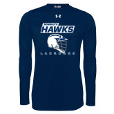 Under Armour Navy Long Sleeve Tech Tee-Lacrosse Helmet Design