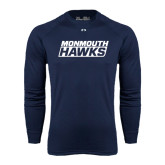 Under Armour Navy Long Sleeve Tech Tee-Monmouth Hawks Stacked