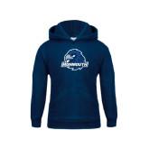 Youth Navy Fleece Hood-Official Logo