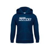 Youth Navy Fleece Hood-Monmouth Hawks