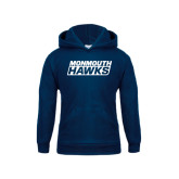 Youth Navy Fleece Hoodie-Monmouth Hawks Stacked