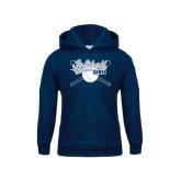Youth Navy Fleece Hood-Cross Bats Softball Design