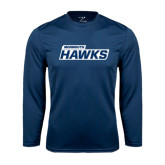 Syntrel Performance Navy Longsleeve Shirt-Monmouth Hawks