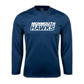 Syntrel Performance Navy Longsleeve Shirt-Monmouth Hawks Stacked