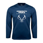 Syntrel Performance Navy Longsleeve Shirt-Stacked Basketball Design