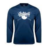 Syntrel Performance Navy Longsleeve Shirt-Cross Bats Softball Design