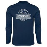 Performance Navy Longsleeve Shirt-2017 MAAC Regular Season Basketball Champions Banner